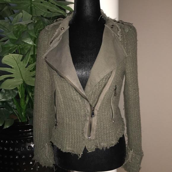 Zara Tweed Moto Style Jacket